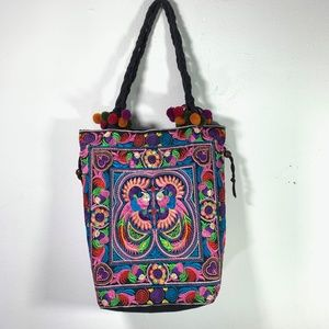 Vintage embroidered boho bag hobo tote hippie